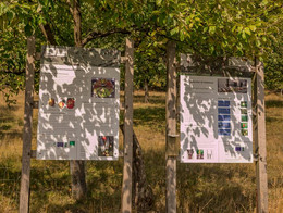 Zwei Hinweistafeln im Obstsortenmuseum