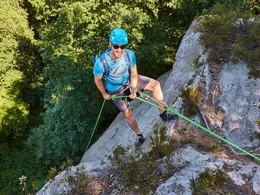 Profi-Bergsteiger klettert am Dreikaiserstuhl